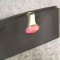 Vintage Women's Gucci Wallet  Checkbook Coin Purse Black Silk 6.5x3.5