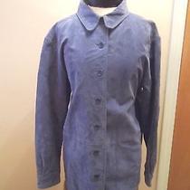 Vintage Women's Size Medium Bagatelle Blue Suede Leather Buttondown Jacket/shirt Photo