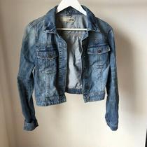 Vintage Womens Topshop Cropped Denim Jacket - Medium Blue Wash - Size 6 Photo