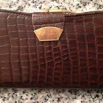 Vintage Women's Wallet Art Deco Mock Croc for Pounds British Leather Photo