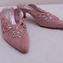 Vintage Womens 7.5 B via Spiga Pink Suede Perforated Slide Mule Heels Italy Photo