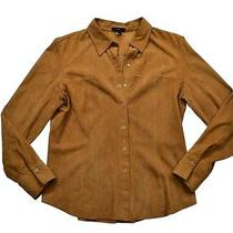 Vintage Womens Brown Gap Suede Snap-Up Shirt-Jac Coat Western Jacket Size M L Photo
