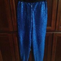 Vintage Womens Escada Margaretha Ley Blue Sequined Pants Size 38 Excellent   Photo