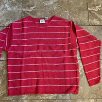 Vintage Womens Gap Sweater Red With White Striped Dotted Lines Size Small Photo
