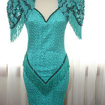 Vintage Womens Sequin Fringe Cocktail Party Dress Photo