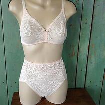 Vintage Wonderbra Lace Panties L and Matching Bra B36 Blush Pink Photo