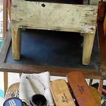 Vintage Wood Box Shoe Shine Kit With Cast Iron Footrest & Brush Accessories Photo