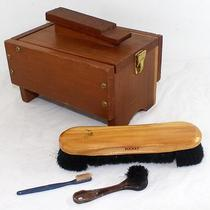 Vintage Wood Shoe Shine Box W/ Hinged Lid & Brushes Photo