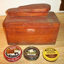 Vintage Wood Wooden Shoe Shine Box With Contents Photo