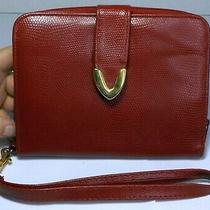 Vintage Wristlet Clutch Handbag Purse Wine Red Reptile Pattern Faux Leather Zip Photo