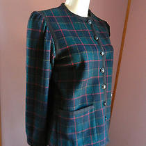 Vintage Ysl Rive Gauche Plaid Green Blue Red Black Yello Button Jacket Wool Sz38 Photo