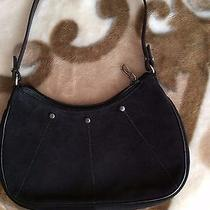 Vintage Ysl Yves Saint Laurent Black Suede Leather Shoulder Bag Small Photo