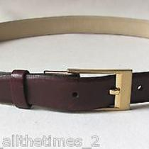 Vintage Ysl Yves Saint Laurent Men's Burgundy Leather Belt Sz 34-85 Photo