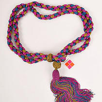 Vintage Ysl Yves Saint Laurent Purple/blue/green Braided Tassel Belt Photo