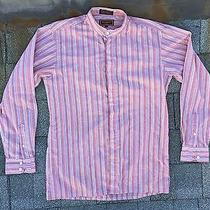 Vintage Ysl Yves Saint Laurent Striped Button Long Sleeve Shirt Banded Collar M Photo