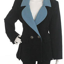 Vintage Yves Saint Laurent Black Blue Trim Front Button Closure Coat Euro Sz 40 Photo