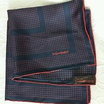 Vintage Yves Saint Laurent Silk Scarf  Navy Red Polka Dots  18