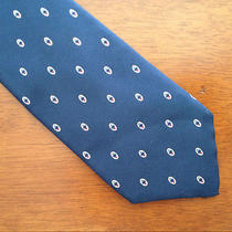 Vintage Yves Saint Laurent Tie - 100% Silk - Navy Blue With Dot Pattern Photo