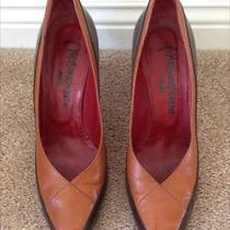 Vintage Yves Saint Laurent Two Tone Brown Leather Pointy Pumps Heels Size 10 Photo