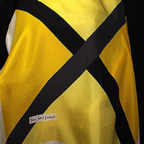 Vintage Yves Saint Laurent Yellow Ivory & Black 'X' Silk Scarf 33.5