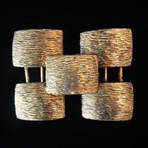 Vintage Yves Saint Laurent Ysl Belt Buckle - Filigree Deco Brushed Gold Brass 2