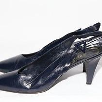 Vintage Yves Saint Laurent Ysl Black Leather Slingbacks Heels Size 9 M Photo