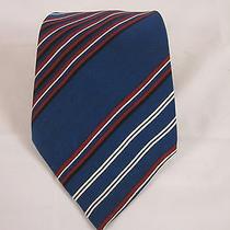 Vintage Yves Saint Laurent Ysl Blue Striped Neck Tie  Photo
