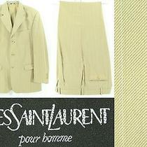 Vintage Yves Saint Laurent Ysl Tan Champagne Plaid 3 Button Wool Suit 42/34 Photo