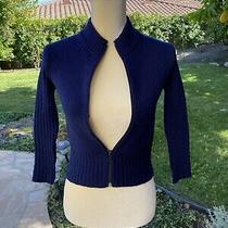 Vintage Zara Girls Winter Collection Navy Blue Zip Up Cardigan Size 6-8 Sweater Photo