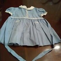 Vintagetoddler Girls Dress Baby Fleurette Blue With White Collar & Trim 1950s Photo