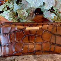 Vintg Authentic Brahmin Crocs Continental Zip Around Large Brown Leather Wallet Photo