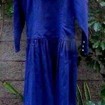 Vintg Eileen Westsailor Dressplunge Buttonsbacknavy Linen Cotton10 S Mretro Photo