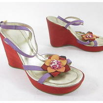 Viola Hudson Purple Red Satin Floral Detail Ankle Straps Wedges Sandals Sz 37 7 Photo
