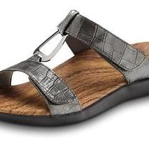 Vionic Layla Ii - Orthotic Sandals - Orthaheel Gunmetal Crocodile - 8 Photo