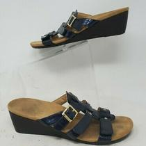 Vionic Womens Park Radia Navy Croc Wedge Sandals Size 8 Photo