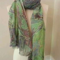 Vismaya Brand Scarf 100% Wool Shawl Bright Colored Print Sold  Anthropologie Photo