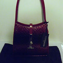 Vittorio Red Burgundy Moc Croc Patent Leather Tote/shoulder Bag Nwt 79.99 Photo