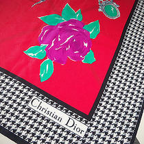 Vivid Authentic Vtg Christian Dior Silk Scarf Herringbone Chair Mannequin Roses  Photo