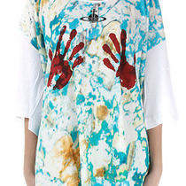 Vivienne Westwood Anglomania Women White Cotton Printed T-Shirt Italy Made New Photo