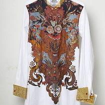Vivienne Westwood Baroque Print Gold Foil Dress Shirt 2 Cuffs & Collars  1100 Photo