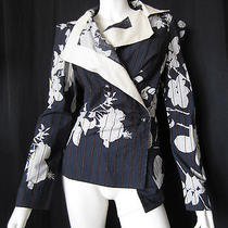 Vivienne Westwood Cotton Blue Pinstriped Floral Jacket 40  Photo