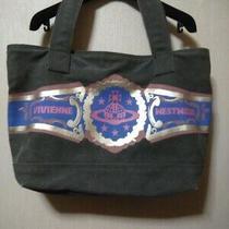 Vivienne Westwood Medium Khaki With Blue Logo Unisex Tote Bag Used Excellent Photo