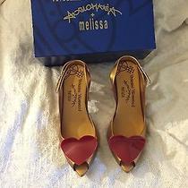 Vivienne Westwood Melissa Shoes Nib Size 10 Gold Hearts Wedding Rubber Slingback Photo