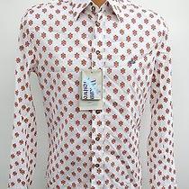 Vivienne Westwood Mens Orange Floral Pattern Shirt White Size I Nwt Retail 380 Photo