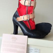 Vivienne Westwood Red Canvas Black Leather Bondage Boots Uk 5 / Us 7.5 Photo