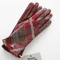Vivienne Westwood Red Leather Glove Check Size 3.5x11 Inc Authentic Nwt Lv Gucci Photo