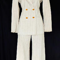 Vivienne Westwood Vtg Striped Linen Blend Orb Button Blazer Pant Suit Sz 42 / 40 Photo