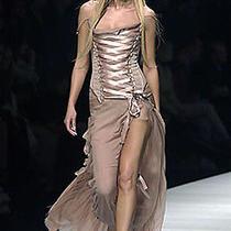 Vogue Cover Nwt 2003 Versace Lace-Up Corset Evening Dress Gown  Sz 40 Photo