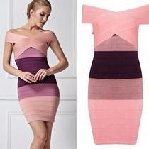 Vogue Women's Pink Off Shoulder Herve Leger Inspired Ombre Bodycon Bandage Dress Photo