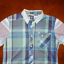 Volcom Blue Short Sleeve Button Down Shirt  Medium Slim Fit O Element Hurley Photo